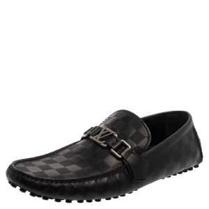 Louis Vuitton Damier Black Leather Loafers Size 43