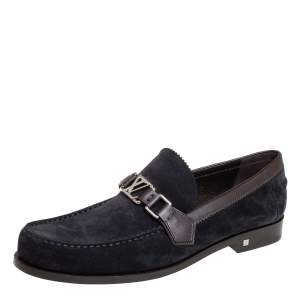 Louis Vuitton Navy Blue/Brown Suede And Leather Major Slip On Loafers Size 42