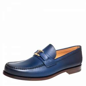 Louis Vuitton Blue Leather Major Slip On Loafers Size 43.5