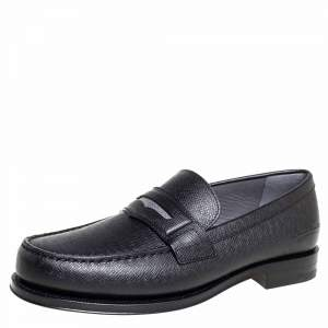 Louis Vuitton Black Leather Sorbonne Slip On Loafers Size 41
