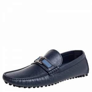 Louis Vuitton Blue Leather Hockenheim Slip On Loafers Size 41