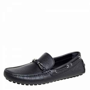 Louis Vuitton Black Leather Raspail Slip On Moccasins Size 41