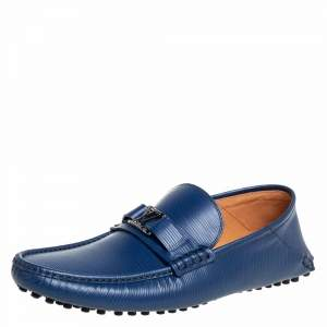 Louis Vuitton Blue Epi Leather Hockenheim Slip On Loafers Size 42