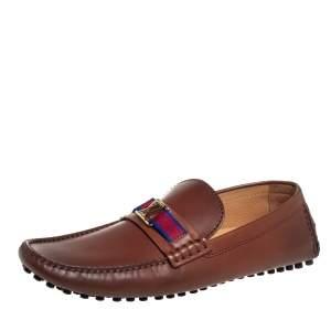 Louis Vuitton Brown Leather Hockenheim Slip On Loafers Size 43.5