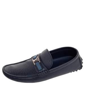 Louis Vuitton Navy Blue Leather Hockenheim Slip On Loafers Size 42