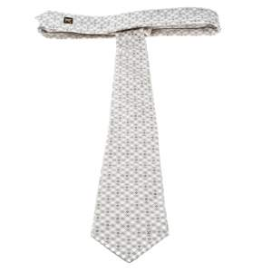 Louis Vuitton Beige and Cream Checked Monogram Patterned Silk Jacquard Tie