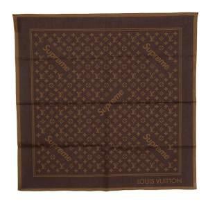 Louis Vuitton x Supreme Brown Monogram Printed Cotton Bandana Scarf
