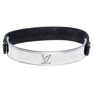 Louis Vuitton Curve it Leather Silver Tone Bracelet