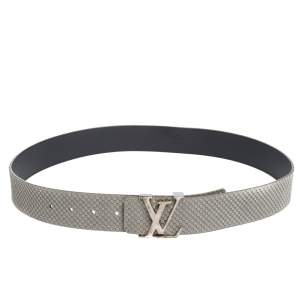 Louis Vuitton Pale Green Damier Embossed Suede LV Initiales Belt 95CM