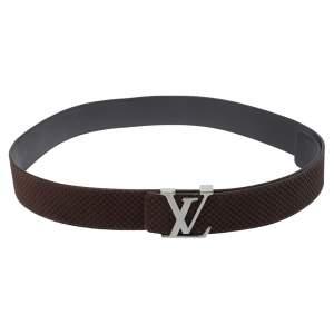 Louis Vuitton Mini Damier Ebene Suede LV Initiales Belt 100CM