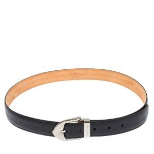 Louis Vuitton Black Taiga Leather Buckle Belt 90CM