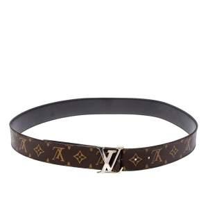 Louis Vuitton Monogram Canvas and Black Leather Initiales Reversible Belt 95CM