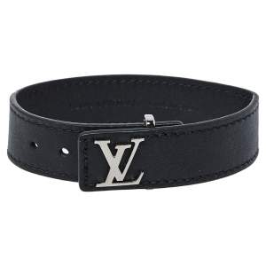 Louis Vuitton Black Leather LV Slim Bracelet