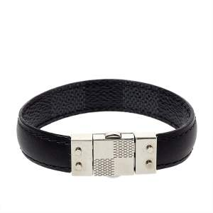Louis Vuitton Black Damier Canvas & Leather Reversible Check It Bracelet