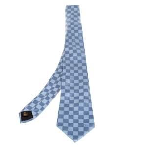 Louis Vuitton Blue Damier Ebene Silk Classic Tie