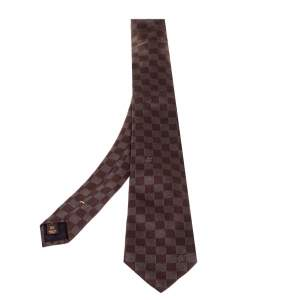 Louis Vuitton Brown Damier Ebene Silk Classic Tie