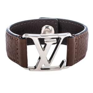 Louis Vuitton Hockenheim Brown Leather Silver Tone Bracelet