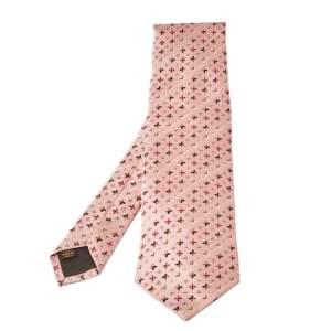 Louis Vuitton Pink Monogram Jacquard Silk Tie