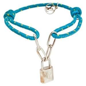 Louis Vuitton x UNICEF Lockit Blue Cord Sterling Silver Charm Bracelet