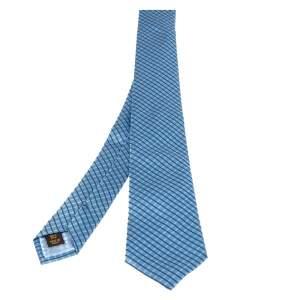 ربطة عنق لوي فيتون حرير أزرق مخطط