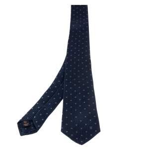 ربطة عنق لوي فيتون حرير أزرق داكن منقطة