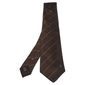 ربطة عنق لوي فيتون حرير مايكرو دامييه بني مخطط