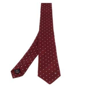 Louis Vuitton Red Polka Dotted Textured Silk Tie