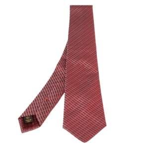 Louis Vuitton Red Diagonal Striped Silk Tie
