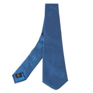 Louis Vuitton Patterned Blue Shiny Silk Tie