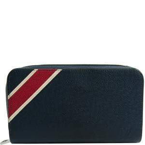 محفظة لوي فيتون بسحاب مخططة جلد تايغا اوشن زرقاء كحلية XL