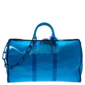 Louis Vuitton Blue Monogram Prism Keepall Bandouliere 50 Bag
