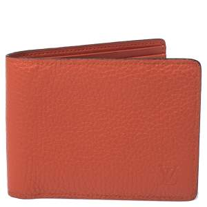 Louis Vuitton Orange Leather Bifold Multiple Wallet