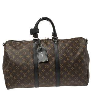 Louis Vuitton Black Monogram Canvas Keepall Bandouliere 45 Bag