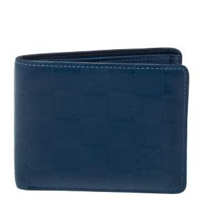 Louis Vuitton Blue Damier Infini Leather Slender Wallet