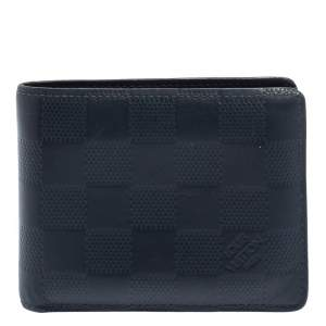 Louis Vuitton Blue Damier Embossed Leather Multiple Wallet