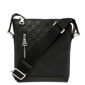 Louis Vuitton Black Damier Leather Infini Discovery BB Messenger Bag