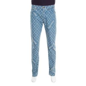 Louis Vuitton x Supreme Blue Monogram Jacquard Denim Jeans M