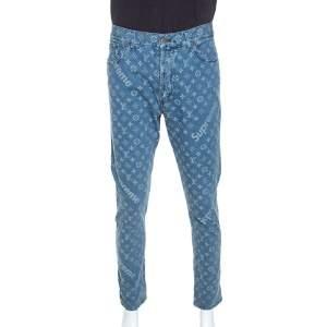Louis Vuitton x Supreme Blue Monogram Jacquard Denim Jeans 3XL
