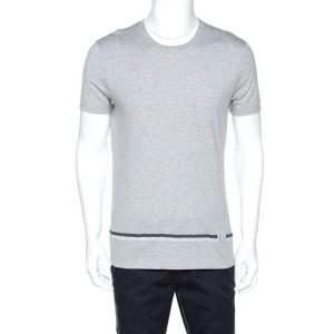 Louis Vuitton Grey Cotton Logo Detail T-Shirt M