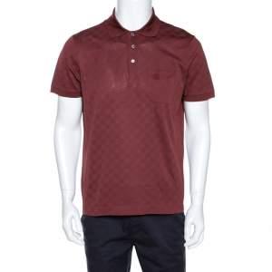 Louis Vuitton Brick Red Damier Pique Polo T Shirt L