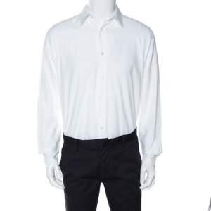Louis Vuitton White Cotton Twill Long Sleeve Shirt M