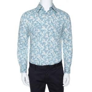 Louis Vuitton White Printed Cotton Blend Long Sleeve Shirt S