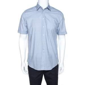 Louis Vuitton Light Blue Monogram Print Cotton Short Sleeve Shirt M