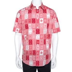 Louis Vuitton Red & White LV Cards Print Cotton Regular Fit Shirt L