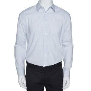 Louis Vuitton White & Blue Cotton Graph Check Shirt L