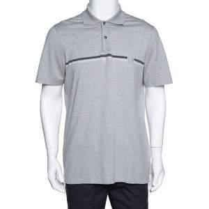 Louis Vuitton Grey Cotton Pique Logo Detail Polo T-Shirt XL