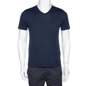 Louis Vuitton Navy Blue Cotton V-Neck T-Shirt S