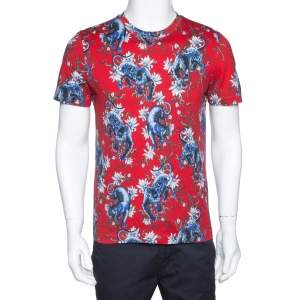 Louis Vuitton Red Panther Print Cotton Crew Neck T-Shirt S