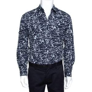 Louis Vuitton Navy Blue Printed Cotton Long Sleeve Shirt M