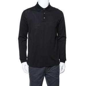 Louis Vuitton Black Cotton Pique Long Sleeve Polo T-Shirt L